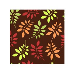 Leaves Wallpaper Pattern Seamless Autumn Colors Leaf Background Small Satin Scarf (Square)