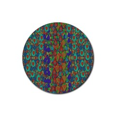 Sea Of Mermaids Rubber Round Coaster (4 Pack)