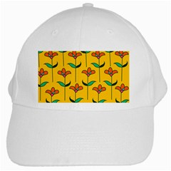Small Flowers Pattern Floral Seamless Vector White Cap