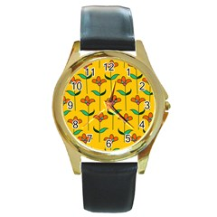 Small Flowers Pattern Floral Seamless Vector Round Gold Metal Watch