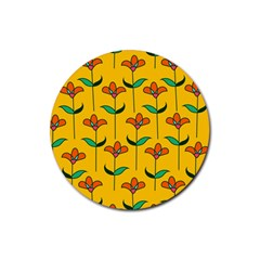 Small Flowers Pattern Floral Seamless Vector Rubber Round Coaster (4 pack)