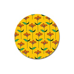 Small Flowers Pattern Floral Seamless Vector Magnet 3  (Round)