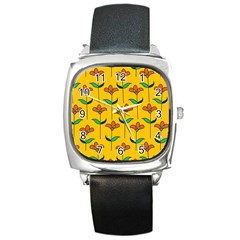 Small Flowers Pattern Floral Seamless Vector Square Metal Watch