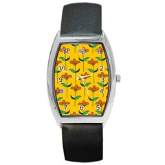 Small Flowers Pattern Floral Seamless Vector Barrel Style Metal Watch