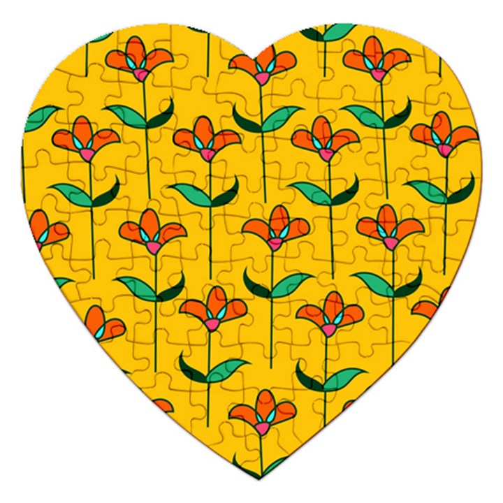 Small Flowers Pattern Floral Seamless Vector Jigsaw Puzzle (Heart)