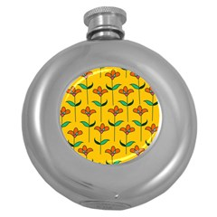 Small Flowers Pattern Floral Seamless Vector Round Hip Flask (5 Oz)