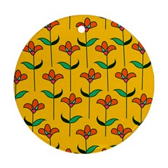 Small Flowers Pattern Floral Seamless Vector Round Ornament (Two Sides)