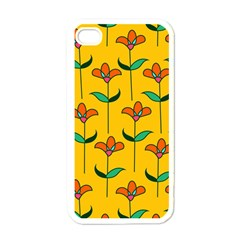 Small Flowers Pattern Floral Seamless Vector Apple Iphone 4 Case (white)