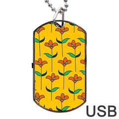 Small Flowers Pattern Floral Seamless Vector Dog Tag USB Flash (Two Sides)