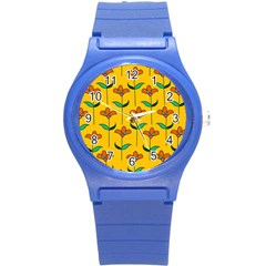 Small Flowers Pattern Floral Seamless Vector Round Plastic Sport Watch (S)