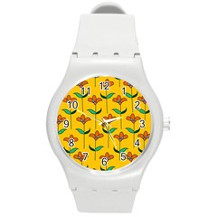 Small Flowers Pattern Floral Seamless Vector Round Plastic Sport Watch (M)