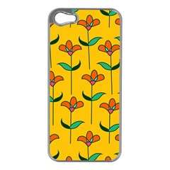 Small Flowers Pattern Floral Seamless Vector Apple iPhone 5 Case (Silver)