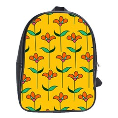 Small Flowers Pattern Floral Seamless Vector School Bags (XL)