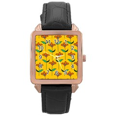 Small Flowers Pattern Floral Seamless Vector Rose Gold Leather Watch