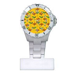 Small Flowers Pattern Floral Seamless Vector Plastic Nurses Watch