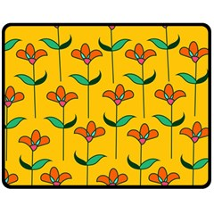 Small Flowers Pattern Floral Seamless Vector Double Sided Fleece Blanket (Medium)