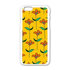 Small Flowers Pattern Floral Seamless Vector Apple iPhone 6/6S White Enamel Case