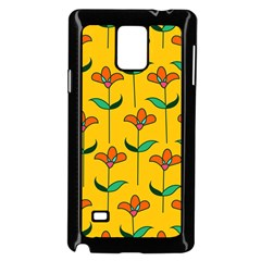 Small Flowers Pattern Floral Seamless Vector Samsung Galaxy Note 4 Case (Black)