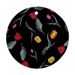 Colorful Tulip Wallpaper Pattern Background Pattern Wallpaper Ornament (round)