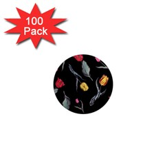Colorful Tulip Wallpaper Pattern Background Pattern Wallpaper 1  Mini Magnets (100 Pack)