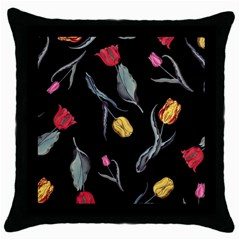 Colorful Tulip Wallpaper Pattern Background Pattern Wallpaper Throw Pillow Case (black)