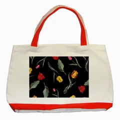 Colorful Tulip Wallpaper Pattern Background Pattern Wallpaper Classic Tote Bag (red)