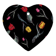 Colorful Tulip Wallpaper Pattern Background Pattern Wallpaper Heart Ornament (Two Sides)