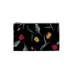 Colorful Tulip Wallpaper Pattern Background Pattern Wallpaper Cosmetic Bag (small)