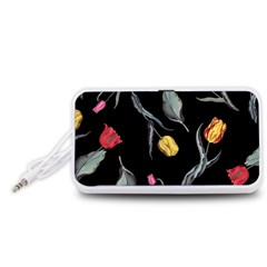 Colorful Tulip Wallpaper Pattern Background Pattern Wallpaper Portable Speaker (White)