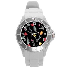 Colorful Tulip Wallpaper Pattern Background Pattern Wallpaper Round Plastic Sport Watch (l)