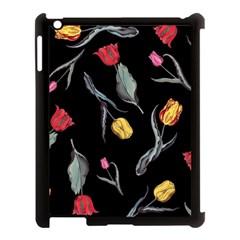 Colorful Tulip Wallpaper Pattern Background Pattern Wallpaper Apple iPad 3/4 Case (Black)