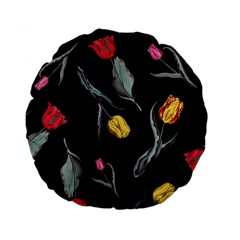 Colorful Tulip Wallpaper Pattern Background Pattern Wallpaper Standard 15  Premium Round Cushions