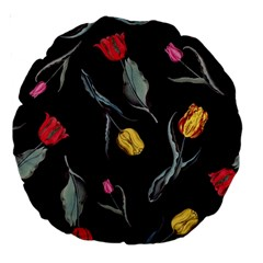 Colorful Tulip Wallpaper Pattern Background Pattern Wallpaper Large 18  Premium Round Cushions