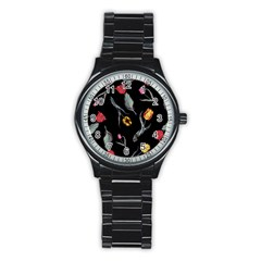 Colorful Tulip Wallpaper Pattern Background Pattern Wallpaper Stainless Steel Round Watch