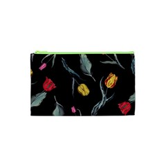 Colorful Tulip Wallpaper Pattern Background Pattern Wallpaper Cosmetic Bag (xs)
