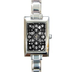 Geometric Line Art Background In Black And White Rectangle Italian Charm Watch