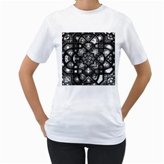Geometric Line Art Background In Black And White Women s T-Shirt (White) (Two Sided)