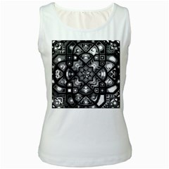 Geometric Line Art Background In Black And White Women s White Tank Top