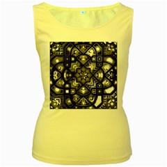 Geometric Line Art Background In Black And White Women s Yellow Tank Top