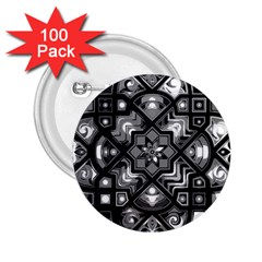Geometric Line Art Background In Black And White 2.25  Buttons (100 pack)