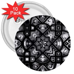 Geometric Line Art Background In Black And White 3  Buttons (10 Pack)