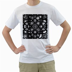 Geometric Line Art Background In Black And White Men s T Shirt (white) (two Sided)