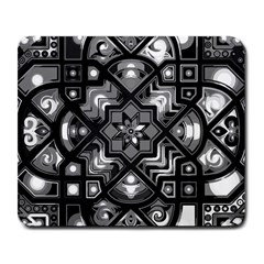 Geometric Line Art Background In Black And White Large Mousepads