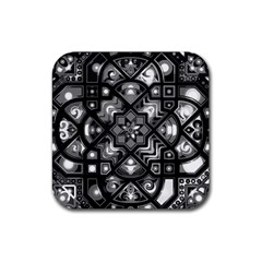 Geometric Line Art Background In Black And White Rubber Coaster (square)