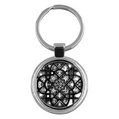 Geometric Line Art Background In Black And White Key Chains (Round)