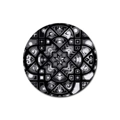 Geometric Line Art Background In Black And White Rubber Round Coaster (4 Pack)