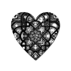 Geometric Line Art Background In Black And White Heart Magnet
