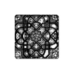 Geometric Line Art Background In Black And White Square Magnet