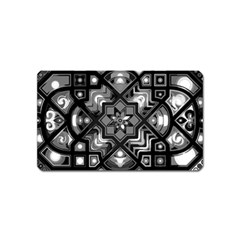 Geometric Line Art Background In Black And White Magnet (name Card)