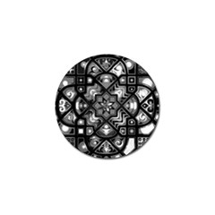 Geometric Line Art Background In Black And White Golf Ball Marker (4 pack)